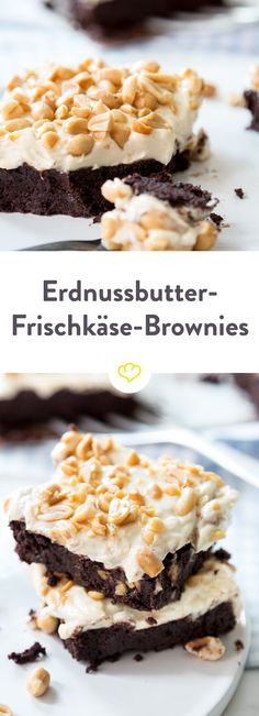 Brownie meets cream cheese meets peanut butter - more is n Brownie trifft Frischkäse trifft Erdnussbutter – mehr geht nicht! The best thing that can happen to your brownie: peanut butter frosting! And on top of that: salted peanuts for the extra crunch!