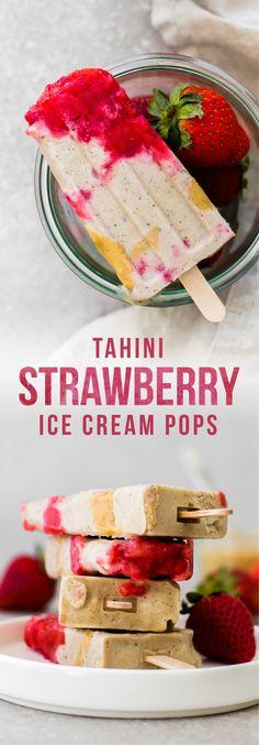 Creamy vanilla bean tahini ice cream pops with chunks of the sweetest in-season organic strawberries–love em!