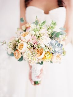 Romantic Mixed Pastel Wedding Bouquet - More Inspiration on #SMP here: http://www.StyleMePretty.com/2014/05/20/styled-shoot-full-of-romance-whimsy-in-portland-oregon/  Photography: BunnSalarzon.com & TaraFrancisPhotography.com - Bouquet: by http://www.facebook.com/pages/Vangs-Garden-Flowers-Portland-Oregon/146751928678513