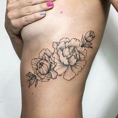 wonderful ribpiece by Ira Shmarinova #tattoo #irainkers #tattooforgirls #peony #flowers