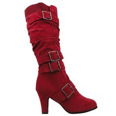 Womens Knee High Boots Leather Knitted Cuff Buckles Low Heel Shoes Red
