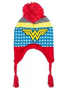 a59b72901a0 DC Comics Wonder Woman Girls Peruvian Winter Hat. Cute knit peruvian  trapper hat. Fleece