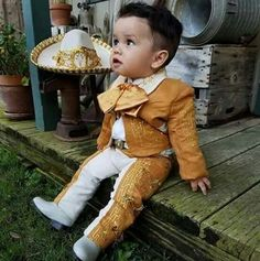 """""""They tell of Kino, the fisherman and of his wife Juana and of the baby Coyotito"""" Boy Baptism Outfit, Baby Baptism, Baptism Ideas, Mexican Outfit, Mexican Dresses, Baby Boy Fashion, Kids Fashion, Charro Outfit, Baby Boy Outfits"""