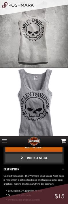 New Harley Davidson Skull Scoop Neck Tank Size small. Brand new without tags Harley-Davidson Tops Tank Tops