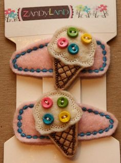 Vanilla Ice Cream with Sprinkles Felt Stitchies Snap by ZandyLand, $6.00