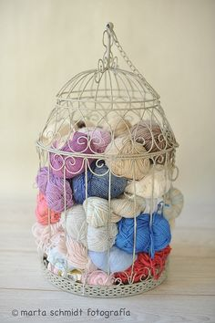 I have a bird cage sitting in my sewing room! This is such a good idea!