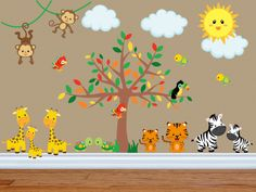 Wall Decals for Kids Bedroom Jungle Animal Wall Decal Safari Nursery Decals Tree Decal Jungle Theme Nursery, Safari Theme, Nursery Themes, Nursery Décor, Animal Nursery, Animal Wall Decals, Kids Wall Decals, Kids Stickers, Tree Decal Nursery