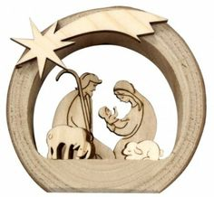 Mini Nativity Grotto of wood with Holy Family and animals: Amazon.de: Kitchen & Home