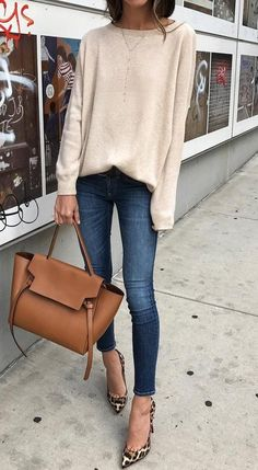 Cream Sweater // Skinny Jeans // Camel Leather Tote                                                                             Source