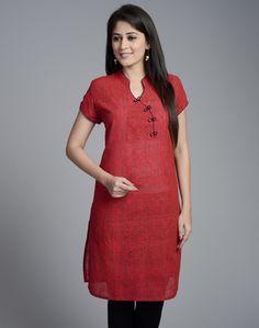 Cotton Mangalgiri Empireline Short Sleeves Mini Kurta