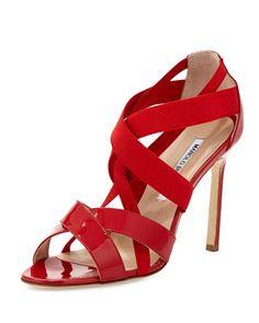 Eletti Patent Crisscross Sandal, Red by Manolo Blahnik at Neiman Marcus.