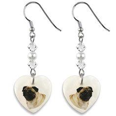 Carlin - Mère de boucles d'oreilles de perles en forme de coeur: Amazon.fr: Bijoux