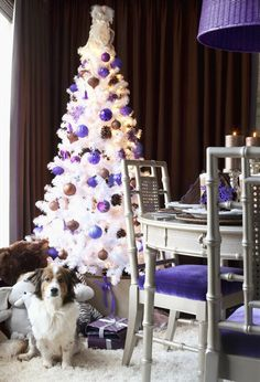 Snow white Christmas tree with purple and brown balls  #Decorations  #Residential #Founterior