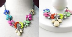 This beautiful Confetti Necklace is a Must Have have addition to your jewelry collection .Its' vivid colors will brighten up any winter outfit.Perfect for either a night out or to wear during the day with jeans and a shirt.Quantities are limited and at this great price it will not last for long so grab one before they run out!