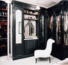 Venetian mirror and black woodwork..