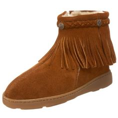 Nab the traditional moccasin style of this shoe from Minnetonka. The soft suede upper features flowing fringe, braided trim, coin-like accents and cushy lining. The zipper makes it easy to put on, while the rubber outsole makes it street-ready. http://www.amazon.com/dp/B003FMVGM6/?tag=icypnt-20