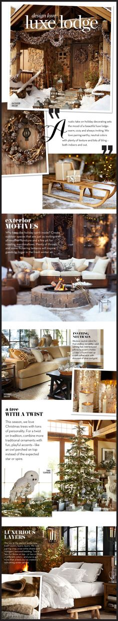 Christmas outdoor decor Pottery Barn design ideas the Luxe Lodge love the pinecone garland & wreaths!