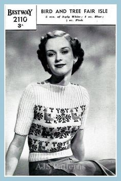 This PDF Knitting Pattern is for this fabulous Bestways Fair Isle pattern from the 1940s in a really lovely Birds and Trees design.    Originally knitted in vintage 3 ply wool to fit around a size of 33-35 bust. Use a modern 4 ply wool instead and adjust the needle sizes accordingly, you will need to knit a sample tension square first to ensure correct sizing. This will also enlarge the bust sizes too.Handy wool and needle conversion charts are also included.    Your PDF pattern will be…