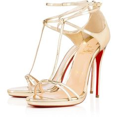 Christian Louboutin Benedetta (16,055 MXN) ❤ liked on Polyvore featuring shoes, sandals, heels, louboutin, christian louboutin, light gold, christian louboutin sandals, t strap high heel sandals, leather t strap sandals and leather strappy sandals