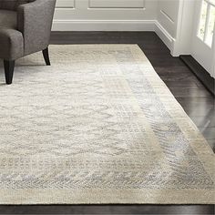 $1300 8x10; upstairs landing Rosalie Neutral Hand Knotted Oriental Rug | Crate and Barrel
