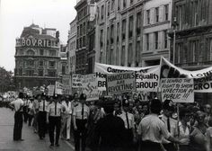 Photo of the first gay pride march through London, England, United Kingdom, 1972, photograph by John Chesterman.