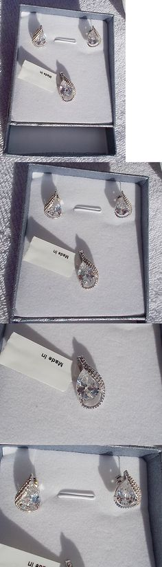 Lab-Created Diamonds 152823: Special ~~ White Diamond (Sim) Earrings And Pendant No Chain Sterling Silver Nib -> BUY IT NOW ONLY: $35.4 on eBay!
