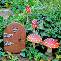 Fairy Garden Starter Kit Set Of Four Mushrooms & Fairy Door Fairy Garden Doors, Fairy Doors, Fairy Gardens, Fairy Garden Ornaments, Gothic Garden, Garden Statues, Fairy Land, Garden Inspiration, Garden Ideas