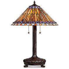 Peacock Motif Robert Louis Tiffany-Style Table Lamp - Style # V3740