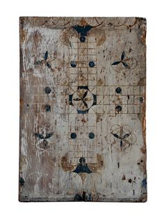 Early game board In original oyster white and blue, H. 25.5 in., W. 17.75 in., 3rd quarter of 19th c.