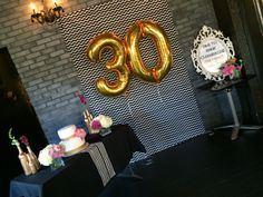 Thirty, Flirty, Thriving- Backdrop and cake table set up