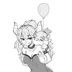 Princess Bowser (Bowsette) with Bowser Jr. Mario And Luigi, Mario Bros, Metroid, Game Character, Character Design, Nintendo Princess, Super Mario Art, Video Games Girls, Super Mario Brothers