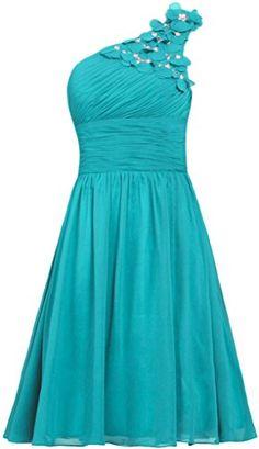 ANTS Womens Chiffon One Shoulder Prom Dress Short Evening Dress Size 6 US Jade *** Visit the image link more details.