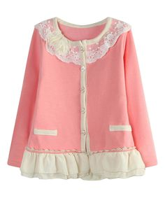 Pink Lace Ruffle Cardigan - Toddler & Girls | zulily