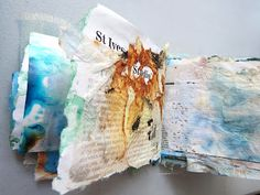 textile artist photography and mixed media - Carolyn Saxby Textile Art St Ives Cornwall Textiles Sketchbook, Gcse Art Sketchbook, Textile Fiber Art, Textile Artists, Carolyn Saxby, Decay Art, A Level Textiles, Newspaper Art, Creative Textiles