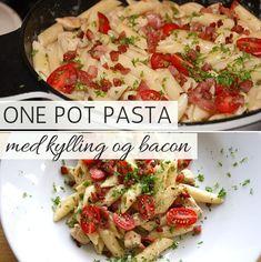 Den nemmeste og lækreste opskrift på one pot pasta med både kylling, bacon og en suverænt god flødesauce. Mums! One Pot Pasta, Deli, Pasta Salad, Potato Salad, Food Porn, Healthy Recipes, Ethnic Recipes, Bedroom Ideas, Places