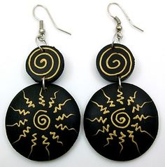 Hand Painted Wooden Earrings | Stunning Hand Painted Sono Wood Earrings AA084 | eBay