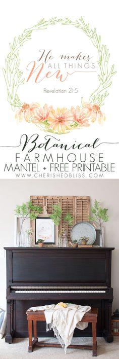 Botanical Farmhouse Mantel PLUS Free Spring Printable.