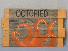 OCTOPIED Octopus Bathroom Sign by NRCRestoration on Etsy
