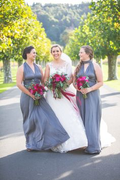 Bianca and the girls - Gorgeous florals by Kerin Greville. Bianca and James wedding day was a delicious tumble of rich red blooms and satin ribbon, blue gingham and bow ties, autumn colour and cute furry friends with thanks to Rei Bennett Photography. Brides And Bridesmaids, Bridesmaid Dresses, Wedding Dresses, Blue Gingham, Bow Ties, Real Weddings, Florals, Wedding Day, Bloom
