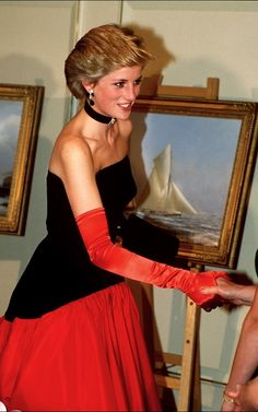 Murray Arbeid designed this gown for a 1986 visit to Spain - giving a nod to Flamenco dancing which Diana loved.