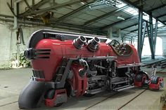 """This unique futuristic steam train concept, by Ricardo Chamizo can run on or off the rails. Ricardo Chamizo, explains: """"Revisiting an old concept… Sculpture Metal, Train Art, Train Pictures, Train Engines, Weird Cars, Transporter, Steam Locomotive, Dieselpunk, Model Trains"""
