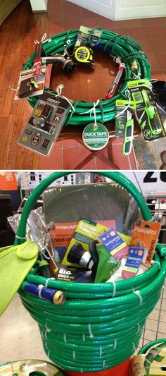 Basket and wreath create out of garden hose and filled with essentials(zip ties).