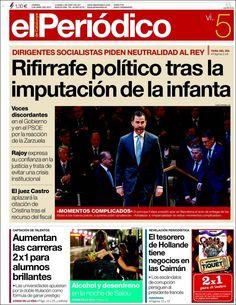 Los Titulares y Portadas de Noticias Destacadas Españolas del 5 de Abril de 2013 del Diario el Periódico ¿Que le parecio esta Portada de este Diario Español?