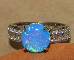 blue fire opal Cz ring gemstone silver jewelry Sz 8 elegant modern engagement G9
