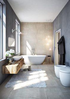 HOME Badezimmer industrial bathroom by DMC Real Render Zucchini: A Power House of Nutrition Dating b Modern Bathroom Design, Bathroom Flooring, Bathroom Decor, Industrial Bathroom, Tile Bathroom, Contemporary Bathroom Designs, Bathroom Interior Design, Bathroom Design Inspiration, Contemporary Bathroom