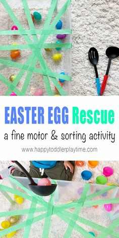 Easter Egg Rescue Sensory Bin - HAPPY TODDLER PLAYTIME Here is a fun Easter egg sensory bin activity that makes a perfect indoor activity for toddlers and preschoolers this Easter! Indoor Activities For Toddlers, Toddler Learning Activities, Spring Activities, Infant Activities, Easter Games For Kids, Toddler Play, Toddler Preschool, Preschool Activities, Family Activities