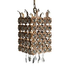Antique Bronze and Crystal Venetian Ceiling Light