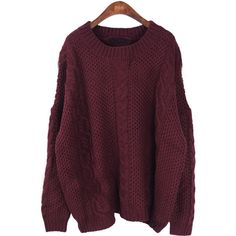 Wine Red Long Sleeve Batwing Loose Pullovers Sweater ($51) ❤ liked on Polyvore featuring tops, sweaters, shirts, jumpers, batwing sleeve shirt, purple sweater, print shirts, red pullover sweater and red long sleeve shirt