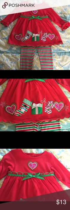 Goodlad Holiday Outfit (Dress/Pants) Sz 18 Months Adorable holiday outfit size 18 months with hearts, mittens and gift appliqués.  Dress buttons in back; includes stretchy leggings in green, red and white stripes. Goodlad Dresses Casual