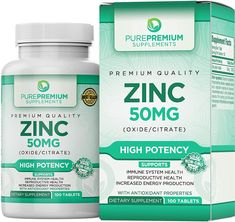 Discounted Immune Support Boosters Zinc Vitamin C Echinacea Premium Zinc Oxide/Citrate Supplement by PurePremium Supplements Tablets, Zinc Tablets, Zinc Supplements, Reproductive System, Natural Energy, How To Increase Energy, Immune System, Health And Wellness